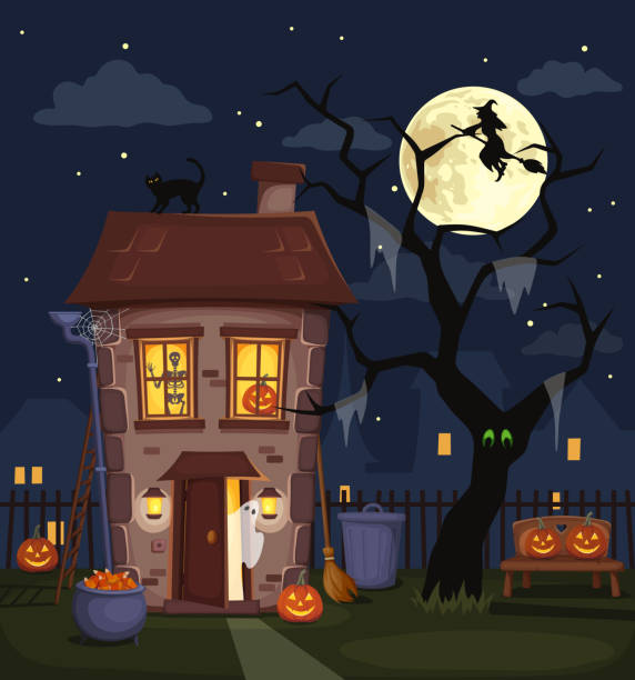 Halloween night city landscape with a haunted house. Vector illustration. Halloween night city landscape with a haunted house, jack-o-lanterns, tree and full moon in the sky. Vector illustration. spooky halloween town stock illustrations