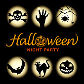 Celebrate Halloween at the spooky night party with silhouette of skull, zombie hand, spider, bat, black cat and pumpkin