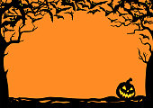 Halloween night background with bats and Jack O' Lanterns. Vector poster illustration with place for your text.