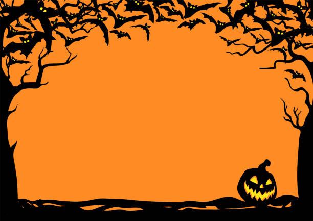 illustrazioni stock, clip art, cartoni animati e icone di tendenza di cornice notturna di halloween con pipistrelli e lanterne jack o'. illustrazione poster vettoriale. - halloween