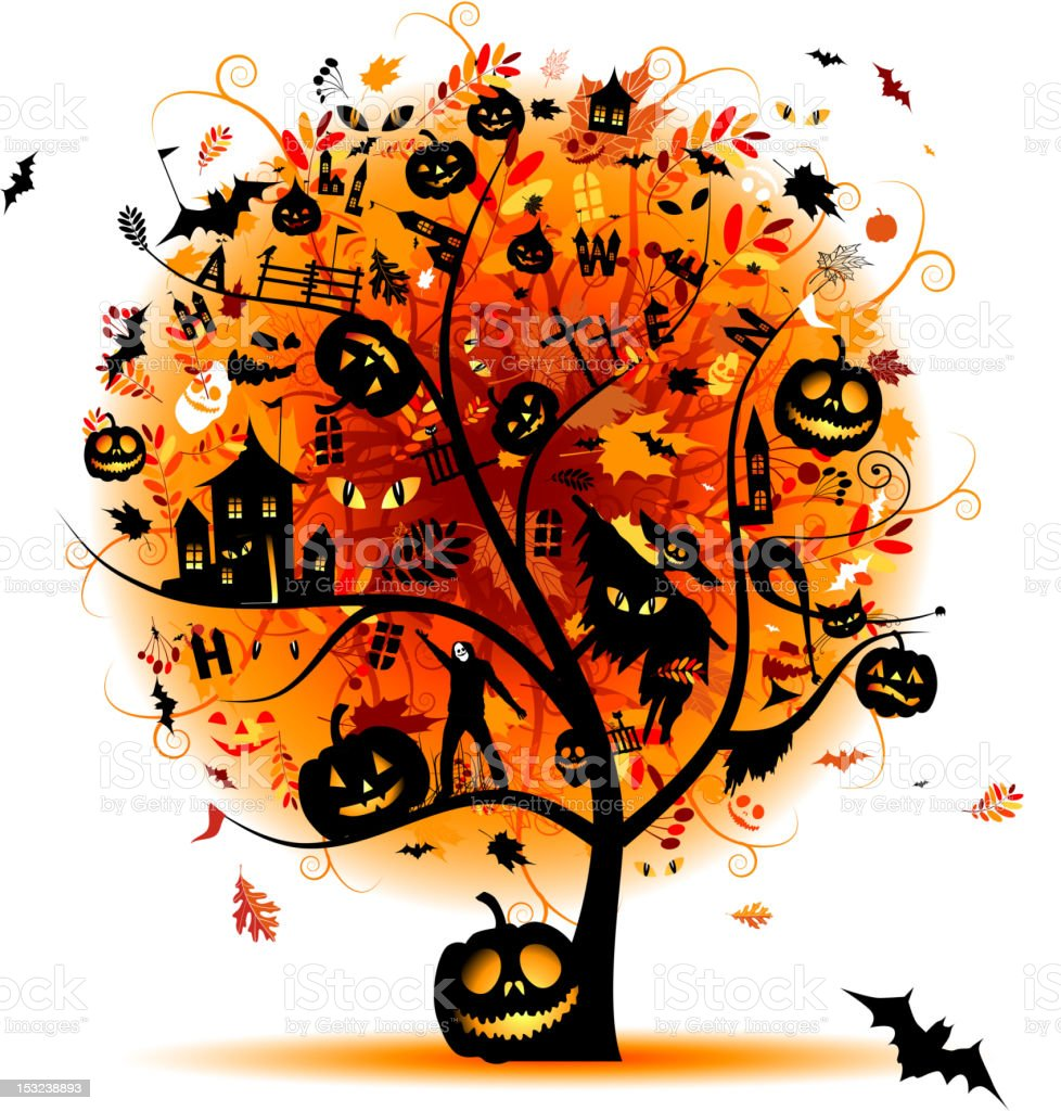 Halloween night holiday, concept tree for your design royalty-free halloween night holiday concept tree for your design stock vector art & more images of adult