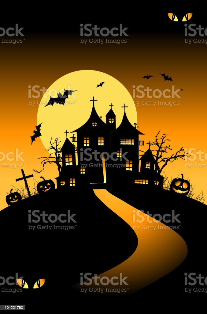 Halloween night holiday, house on hill royalty-free stock vector art