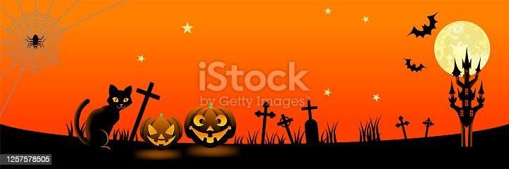 istock Halloween night in spooky graveyard - banner ratio, copy space 1257578505