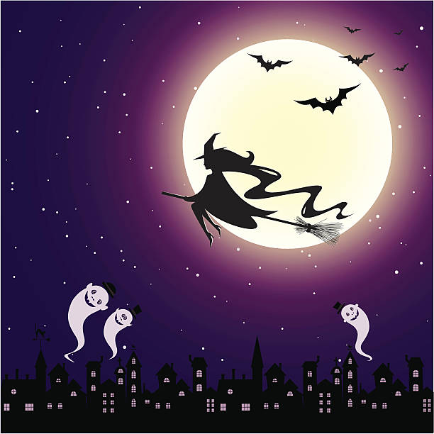 Halloween night in the town Halloween night in the town, witch flying on broom and ghosts. spooky halloween town stock illustrations