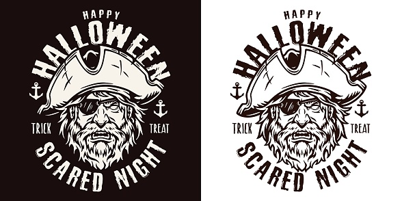 Halloween night monochrome badge