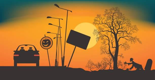 halloween-nacht auf der straße. - landstraße stock-grafiken, -clipart, -cartoons und -symbole