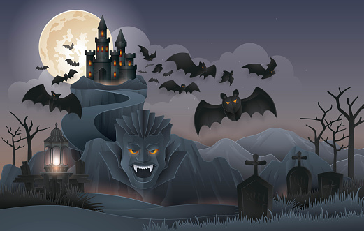 Halloween Night party background, Abstract Dracula's Castle Rock Mountain with bats monster, graveyard