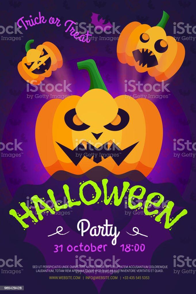 Halloween-Nacht-Party-Flyer. Plakat für Ihre Party. Vektor-Illustration. - Lizenzfrei Abstrakt Vektorgrafik