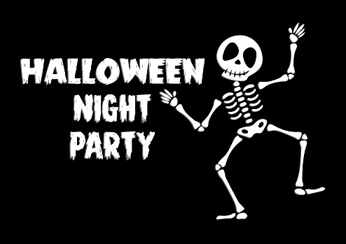 Halloween night party greeting card with cute skeleton. Holidays cartoon character vector.