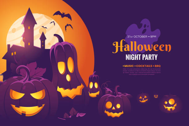 Halloween night party invitation poster design. Halloween illustration with scary pumpkins, castle in the moonlight and flying bats. Creepy background for your holiday design. Vector eps 10 vector art illustration
