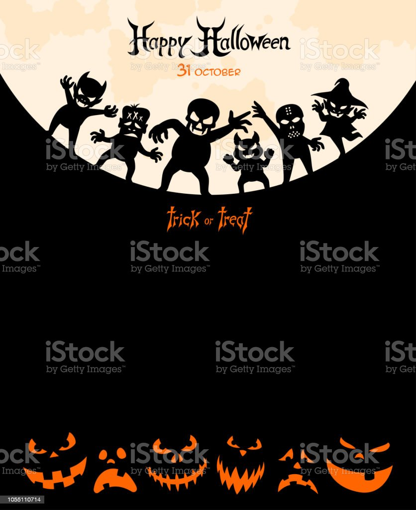 Halloween Night - Party Poster vector art illustration