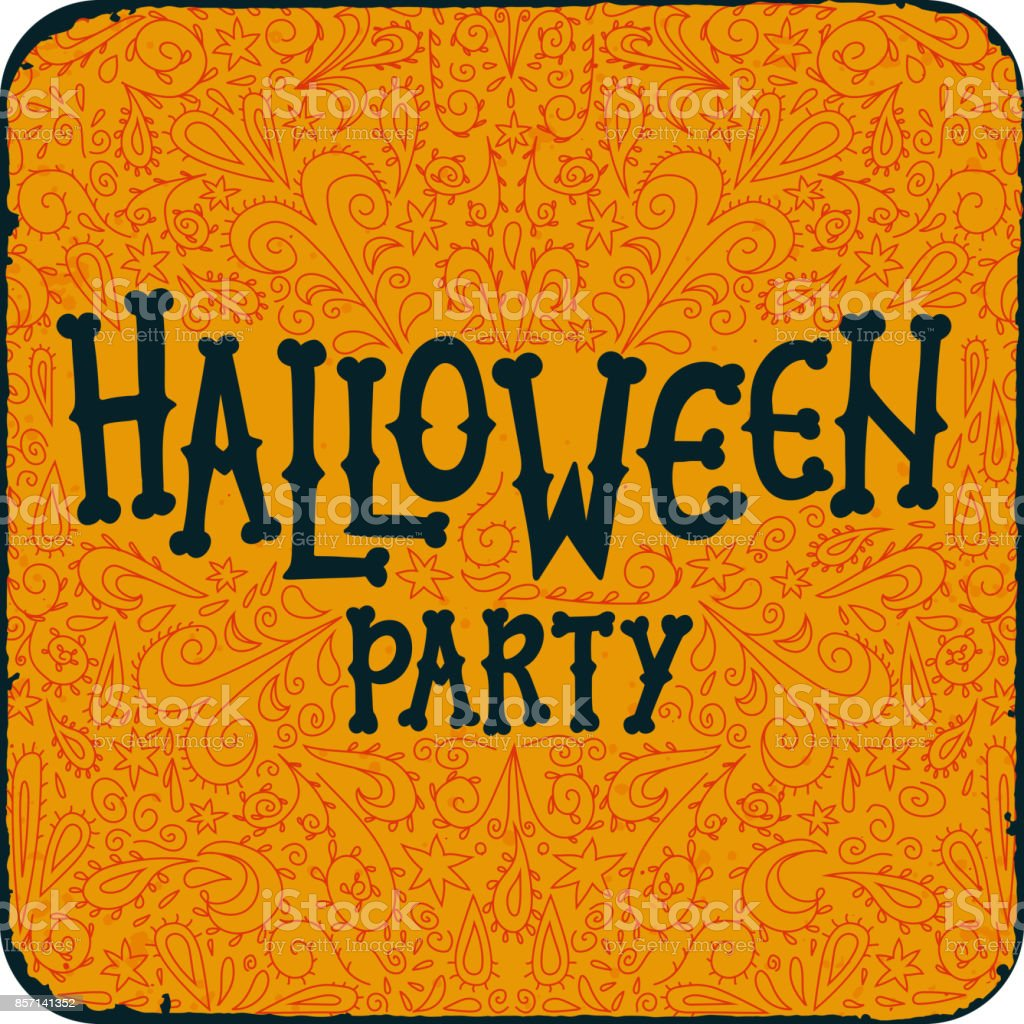 Halloween Night Party Vintage Card With Text Halloween Party On – Halloween Party Invitation Cards