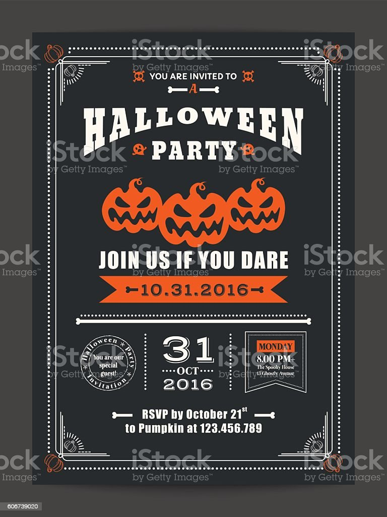halloween night party with scary pumpkins for card poster flyer – Vektorgrafik