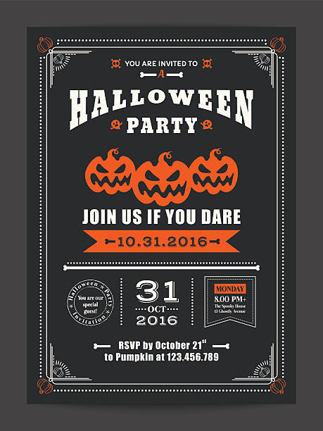 halloween night party with scary pumpkins for card poster flyer - ilustración de arte vectorial