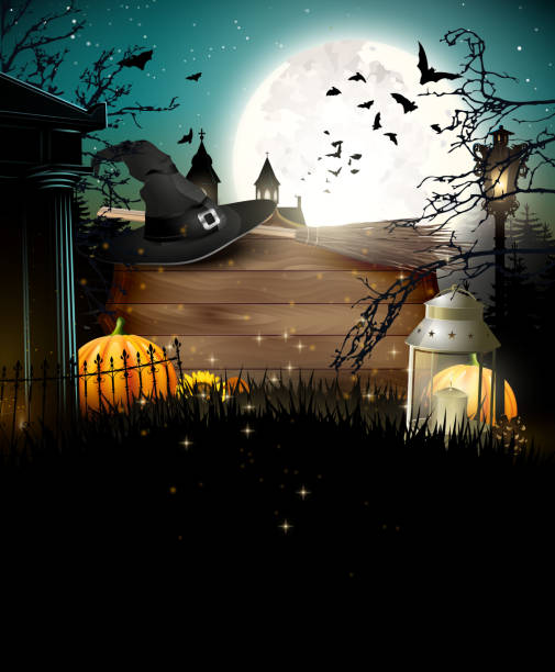 halloween geceler poster - halloween background stock illustrations