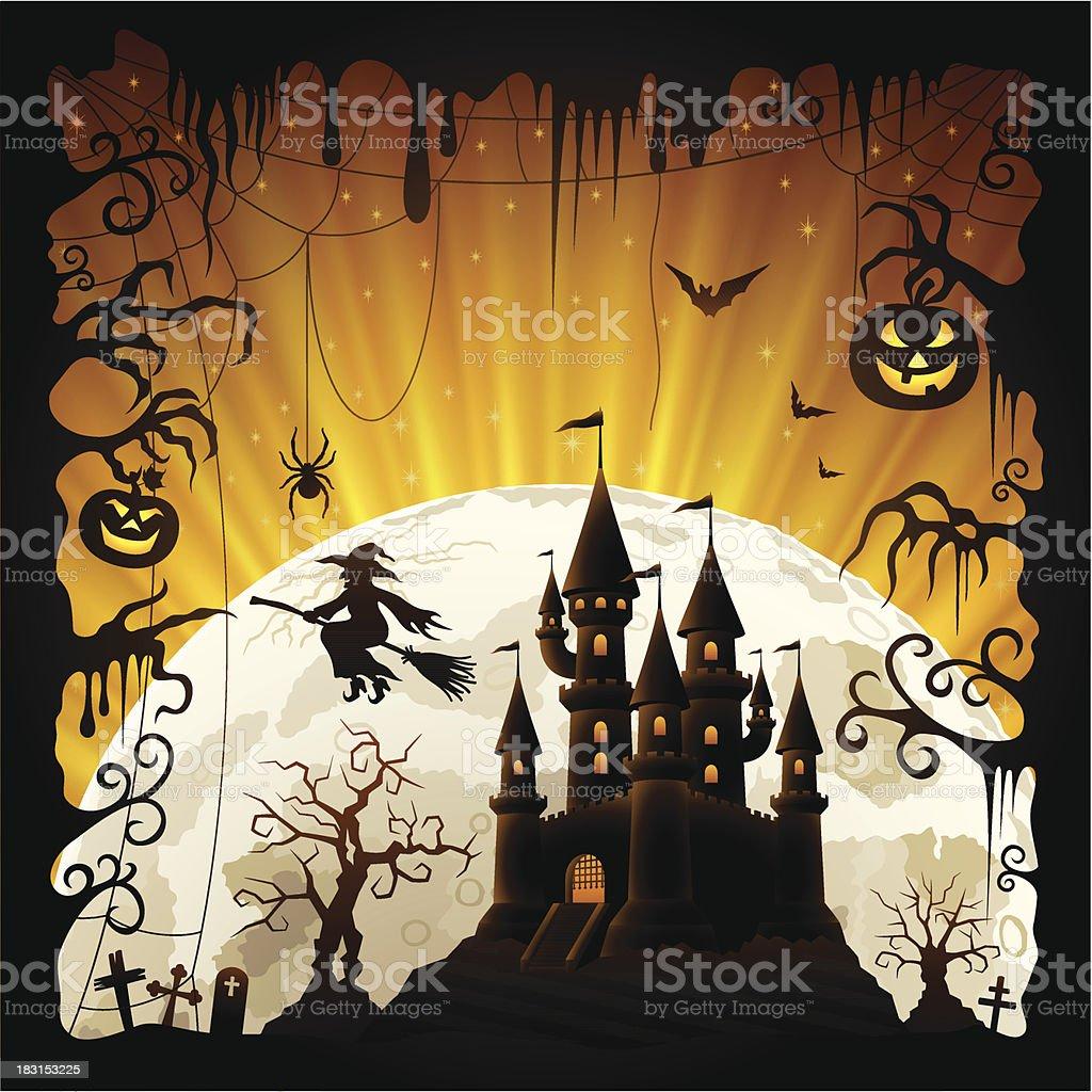 Halloween Night Scene royalty-free stock vector art