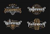 Halloween night, set of vintage style emblems on dark background.