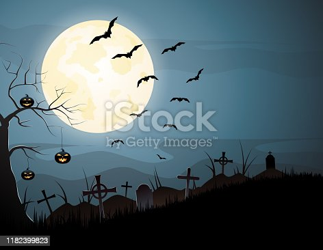 Halloween night spooky background with pumpkins and flying bats. Vector illustration. EPS10