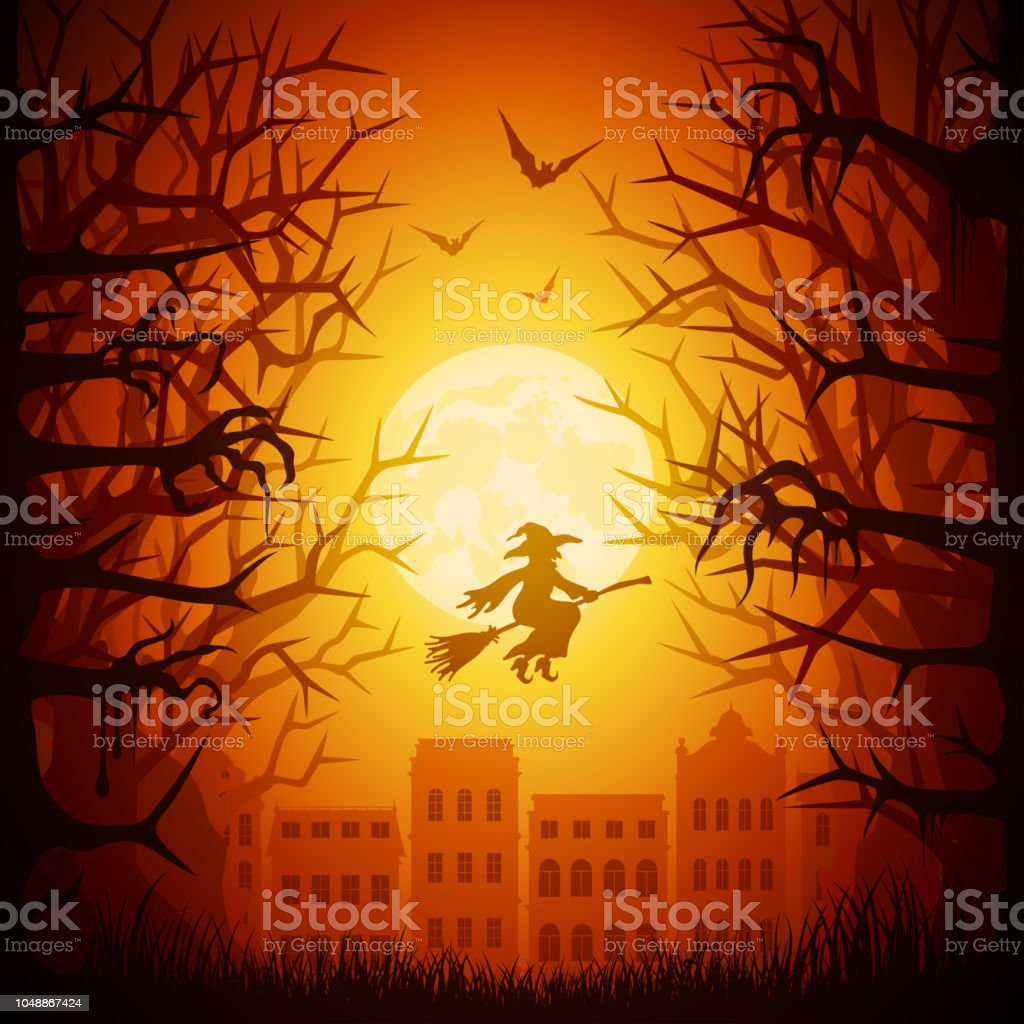 Halloween night town vector art illustration
