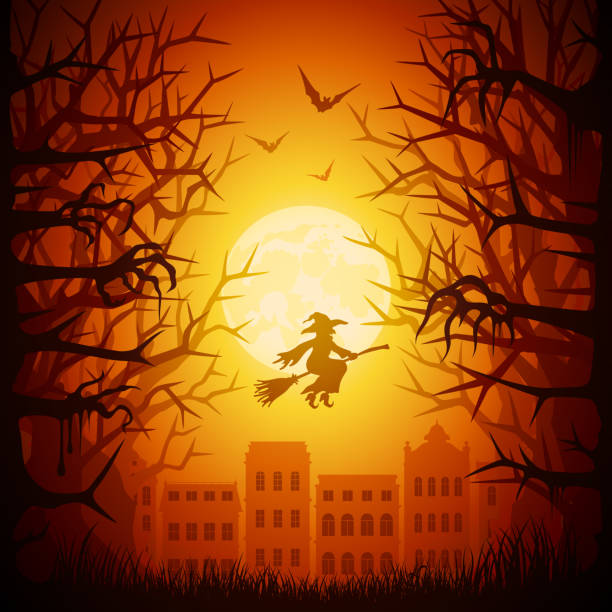 Halloween night town Halloween night town spooky halloween town stock illustrations