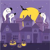 Halloween night with ghosts, bats and pumpkins. Night spooky city. Elements are on different layers.