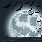 Enormous full moon creepily smiling over the city. EPS10 vector illustration, global colors, easy to modify.