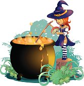 little witch who cooks brew in the night of Halloween