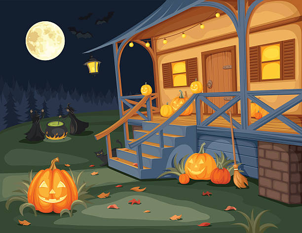 Halloween night. Vector illustration. Vector illustration of a Halloween night, house with jack-o-lanterns on a terrace and witches brewing a potion under a full moon. porch stock illustrations