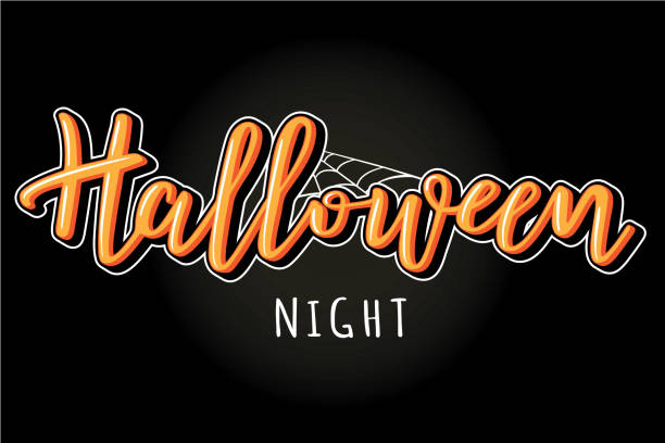 halloween night vector lettering with bats - halloween candy stock illustrations