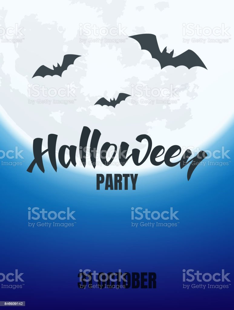 Halloween. Night view of glowing full moon and flying bats. Banner for Halloween party ,events vector art illustration