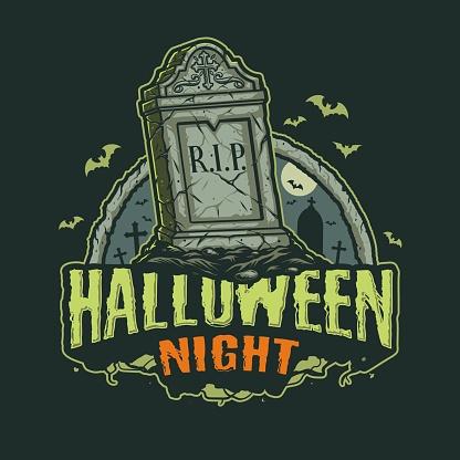 Halloween night vintage print