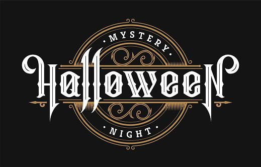 Halloween night, vintage style emblem on a dark background. Vector illustration.