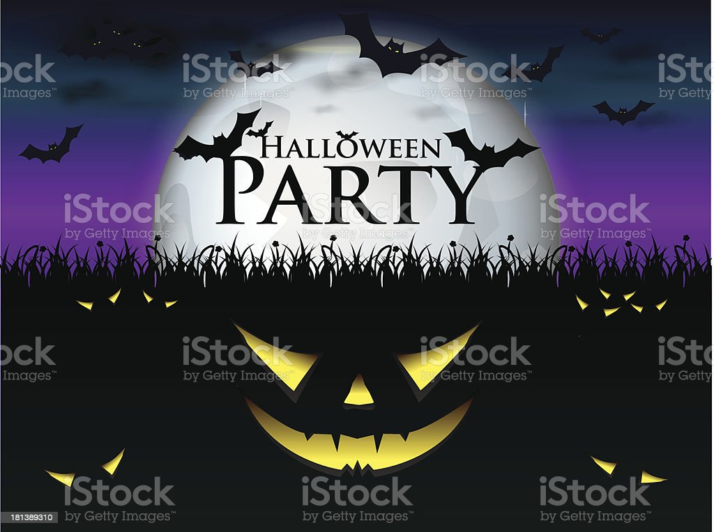 Halloween night with burning eyes royalty-free stock vector art