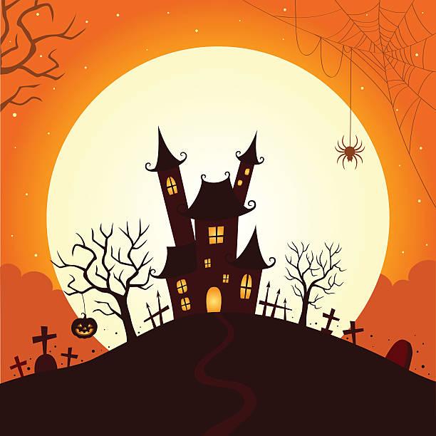 Halloween night with full moon. Halloween,night,moon,background,illustration,holiday scary halloween scene silhouettes stock illustrations