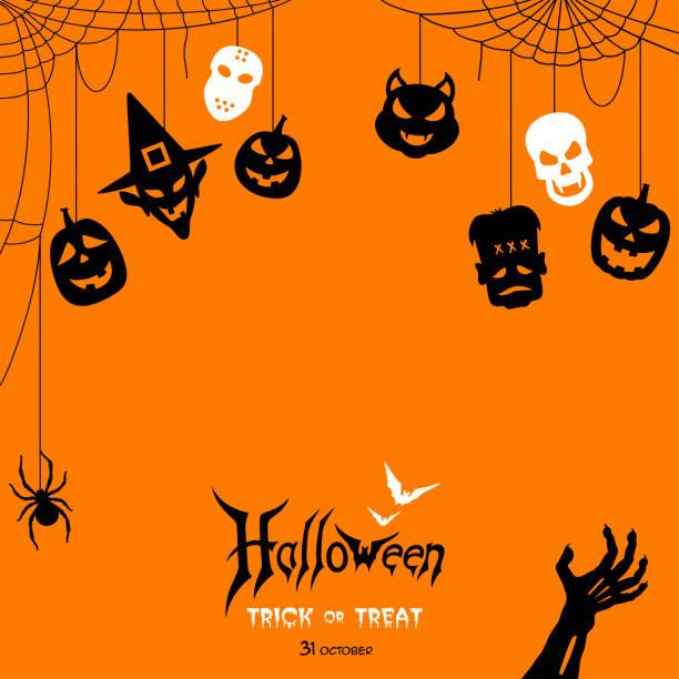 illustrazioni stock, clip art, cartoni animati e icone di tendenza di notte di halloween con etichette - halloween