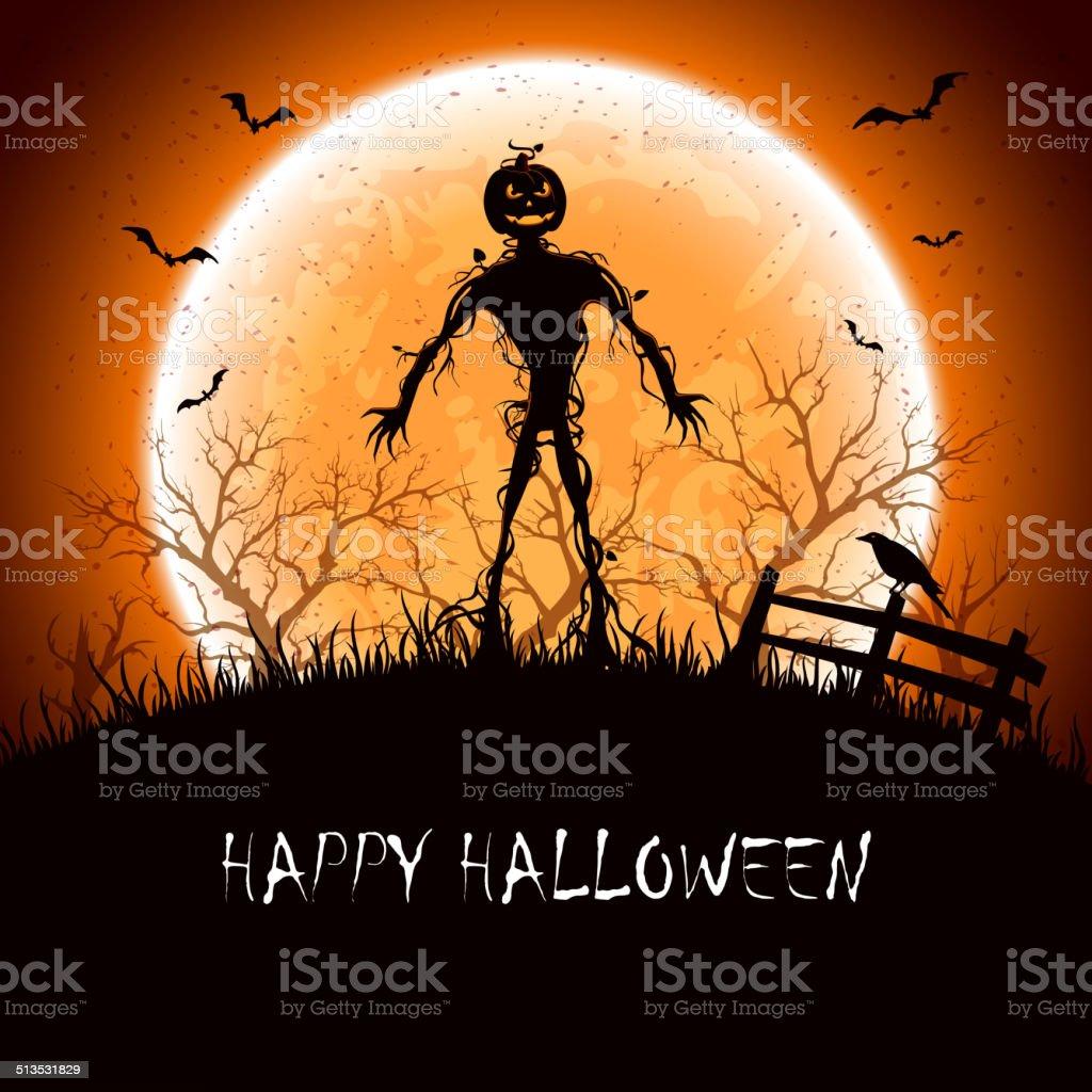 Halloween night with monster vector art illustration