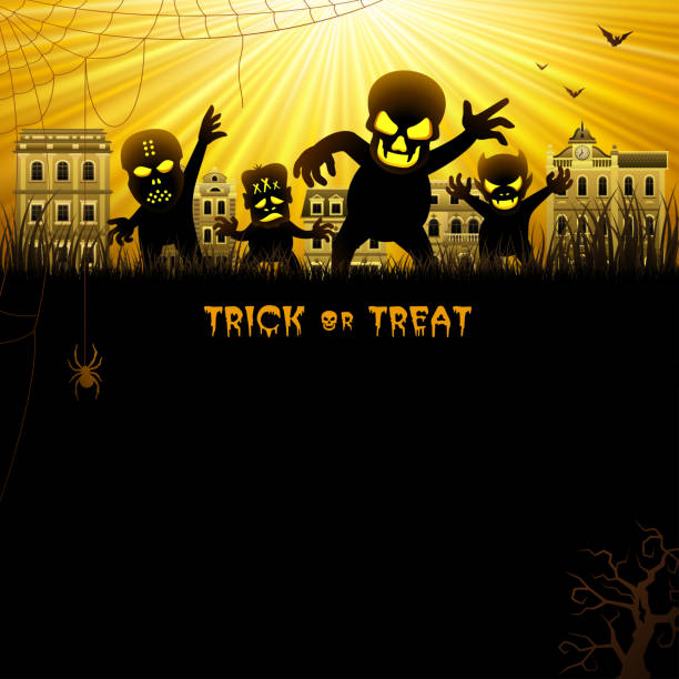 Halloween Night with Monsters Halloween Night with Monsters spooky halloween town stock illustrations