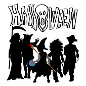 Little kids in their costumes on Halloween walking together to go trick or treat.  Vector silhouette illustration with hand drawn text
