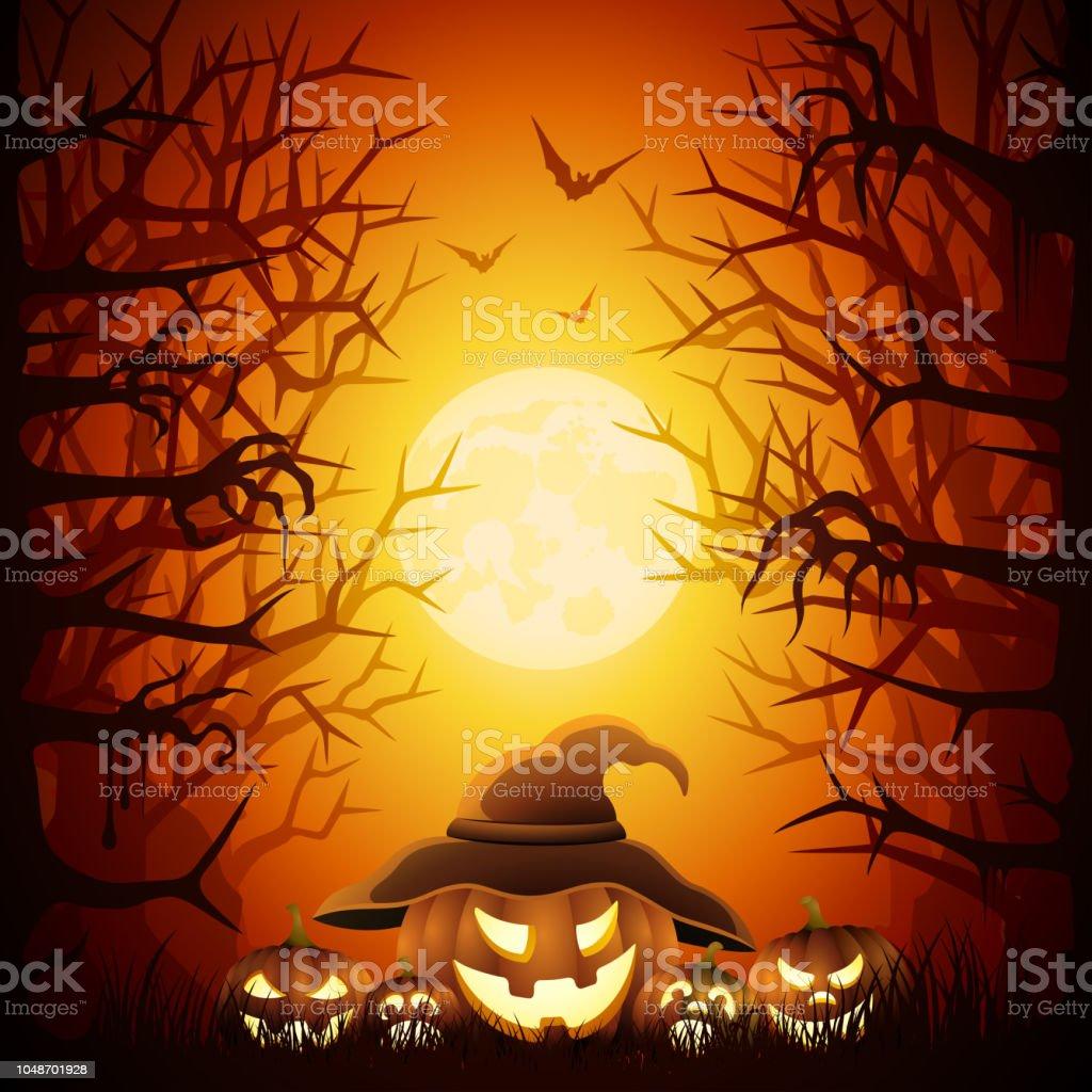 Halloween Night with Pumpkins vector art illustration