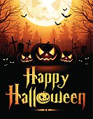 """Halloween night background with pumpkins, text """"Happy Halloween"""", bats and full moon."""