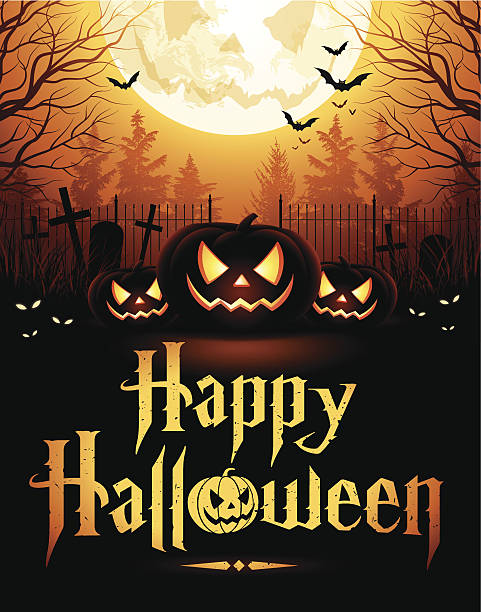 halloween night with pumpkins - halloween stock illustrations, clip art, cartoons, & icons