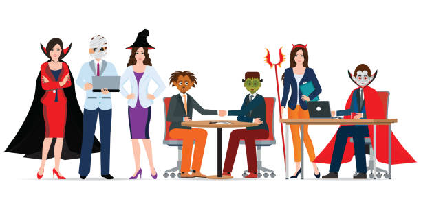 stockillustraties, clipart, cartoons en iconen met kantoor van de halloween party met mensen in verschillende monster kostuum. - kostuum
