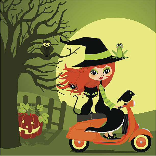 halloween on vespa - redhead stock illustrations, clip art, cartoons, & icons
