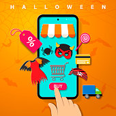 Buy Halloween costume, pirate's hat, spider decor, devil face mask, lollipop, decoration and prop online on mobile app with credit card purchase discount, then deliver to your home