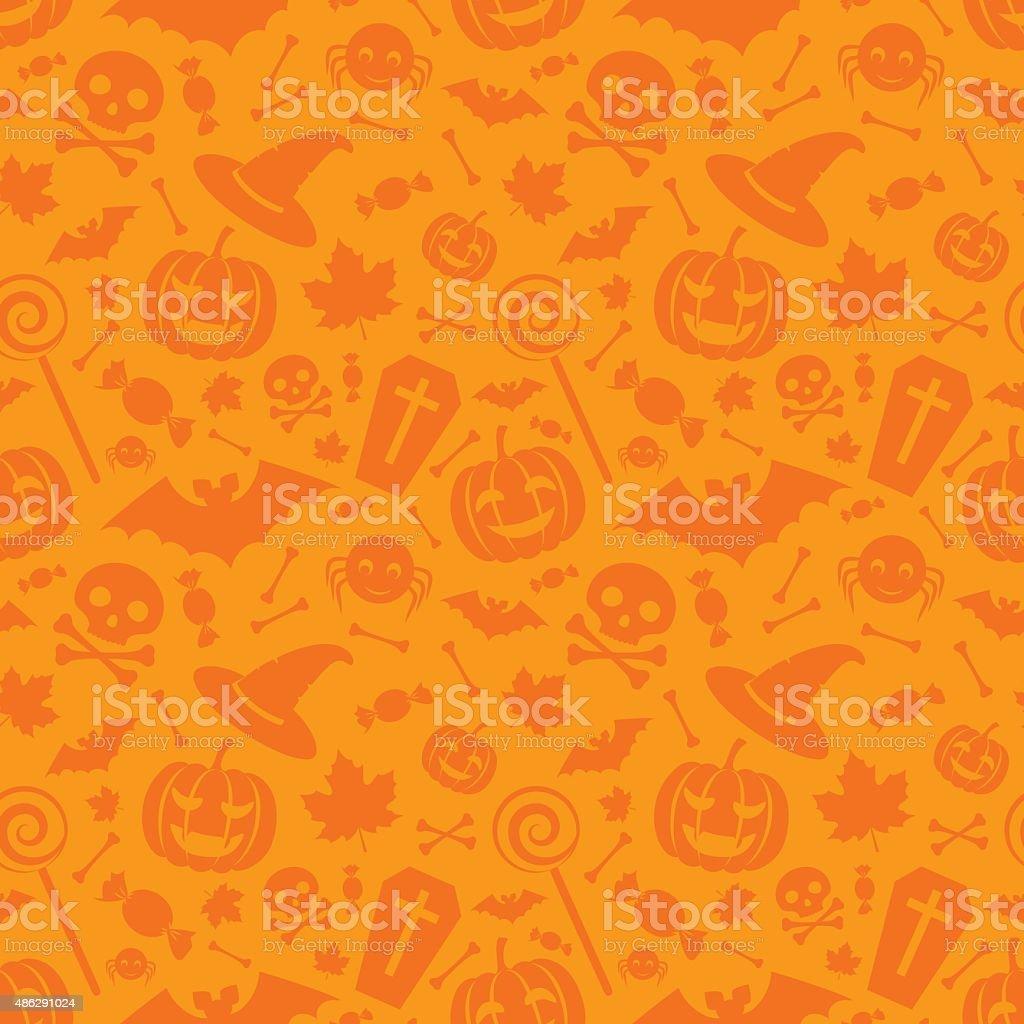 Halloween orange festive seamless pattern vector art illustration