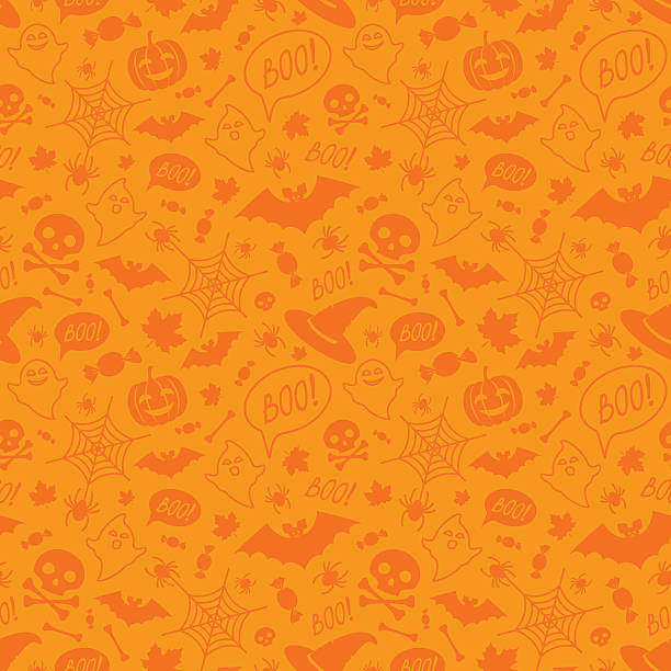 Halloween orange festive seamless pattern. Halloween orange festive seamless pattern. Endless background with pumpkins, skulls, bats, spiders, ghosts, bones, candies, spider web and speech bubble with boo candy patterns stock illustrations