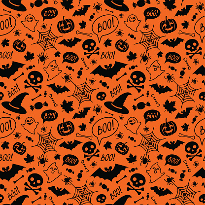 Halloween orange festive seamless pattern.