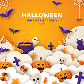 Happy Halloween banner or party invitation background with fog clouds and pumpkins in paper cut style. Vector illustration. Full moon, spider web, witch craft and flying bats. Place for text