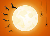 Halloween orange poster, banner, with moon, flying bats and spiders and copy space. Vector illustration. EPS10