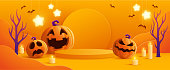 Halloween orange theme product display podium on paper graphic background with group of 3D illustration Jack O Lantern pumpkin and candle light.